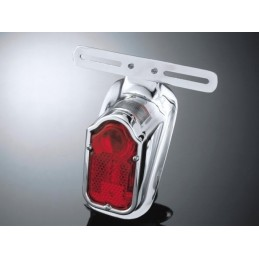 FEU ARRIERE TOMBSTONE CHROME AVEC SUPPORT PLAQUE MOTO