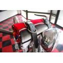 Serape mexicaine Red Roll-up avec lanières en cuir noir moto