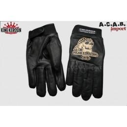 Gants cuir noir King Kerosin broderie Skull moto trike