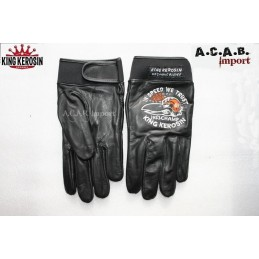 Gants cuir noir King Kerosin L broderie in speed we trust moto trike
