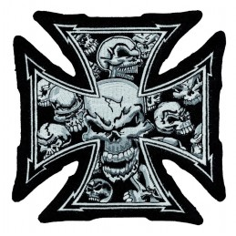 Grand Patch brodé « grey skull malte » biker