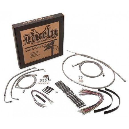 KIT EXTENSION CABLE BURLY TRESSE POUR APE + 15'' Harley Davidson Tourer 08-13