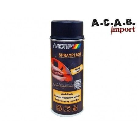 Bombe de peinture élastomère pelable Spraylast noir mat Motip 400ml