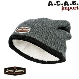 BONNET BEANIE JESSE JAMES GREY LINED BLACK BIKER