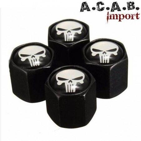 Bouchons de valve 4 pieces « skull noir » moto, voiture