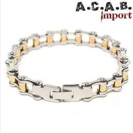 Bracelet biker chaine de velo acier titane chrome et doré