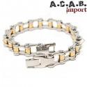 Bracelet biker chaine de velo acier titane chrome et doré A.C.A.B. Import - 2