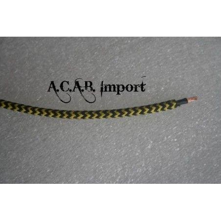 Câble pour faisceau électrique style ancien coton tressé noir/jaune 1mm².