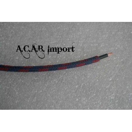 Câble pour faisceau électrique style ancien coton tressé rouge/bleu 1mm².