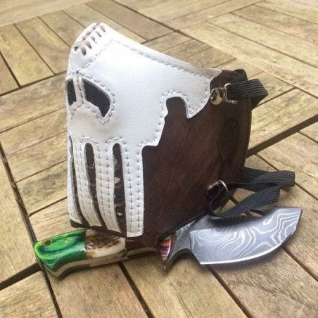 "Masque moto cuir ""killer bugs"" (The Punisher) Marron"
