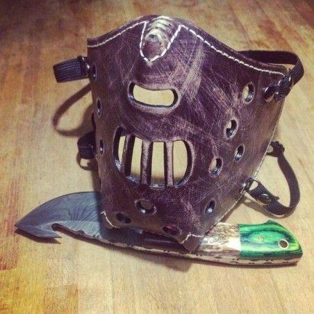 "Masque moto cuir ""killer bugs"" (Hannibal) Marron"