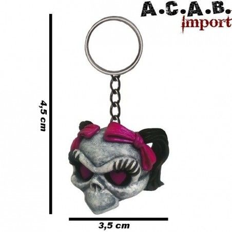 Porte clé Lethal Threat Girl Skull trike hot rod custom culture