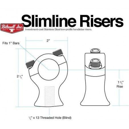 "Risers Biltwell Slimline 1 3/4"" Noir"