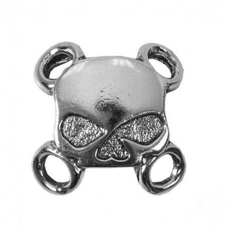 Attaches lacets Skull pour gilet cuir biker 6 pièces