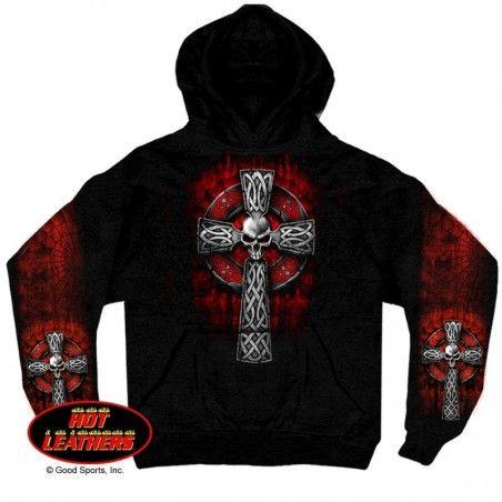 Sweat Shirt Hoodie à capuche Hot Leathers Celtic Cross