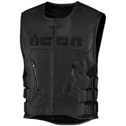 Gilet Cuir sans manche ICON REGULATOR D30 Noir