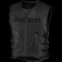 Gilet sans manches cuir Icon REGULATOR D3O STRIPPED noir