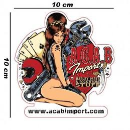 autocollant David Vicente Pin Up Garage A.C.A.B. Import