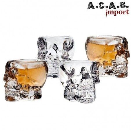 Lot de 4 verres à shooter crane de cristal