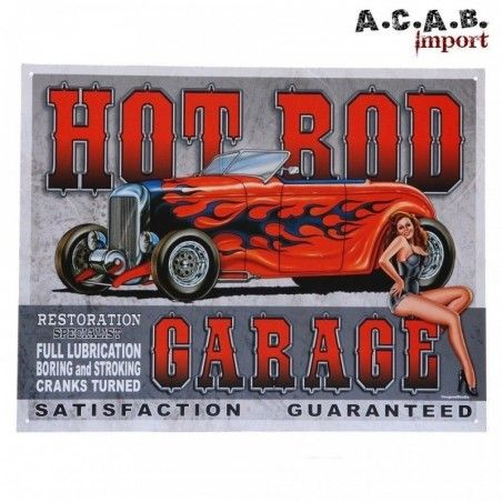 Plaque decorative metal Hot Rod garage