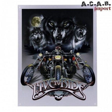 Plaque decorative metal Live Ride Wolves