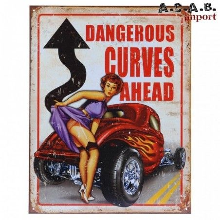 Plaque decorative metal dangerous curves ahead