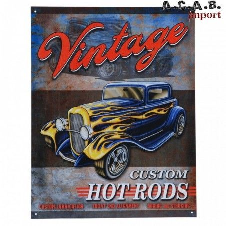 Plaque decorative metal vintage hot rods