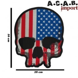 Patch thermocollant brodé USA Skull Flag Lethal Threat Biker
