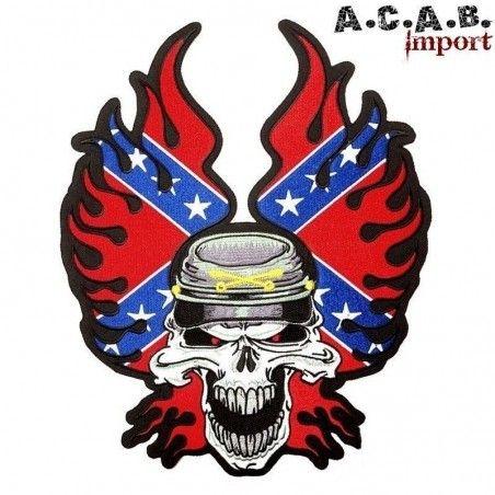 Patch brodé « Confererate skull » biker 9 cm X 7 cm