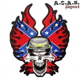Patch brodé « Confererate skull » biker 29,5 cm X 24,5 cm