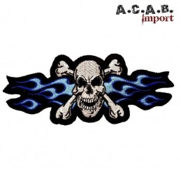Patch brodé « Skull flaming blue » biker 16 cm X 6,5 cm