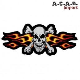 Patch brodé « Skull flaming orange » biker 16 cm X 6,5 cm