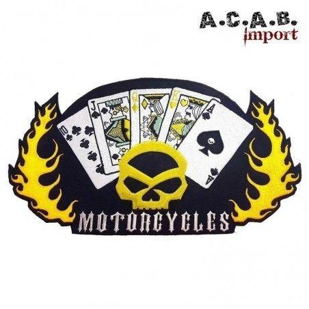 Patch brodé «jeux de carte skull hd flammes » biker 27.5 cm X 14.5 cm