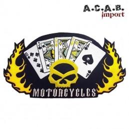 Patch brodé «jeux de carte skull hd flammes » biker 36 cm X 22 cm