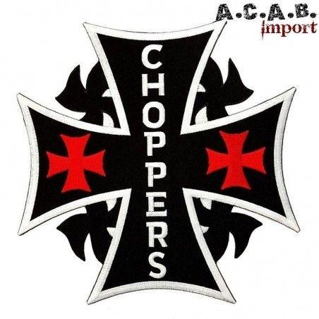 Patch brodé « croix de malte chopper » biker 22 cm X 22 cm