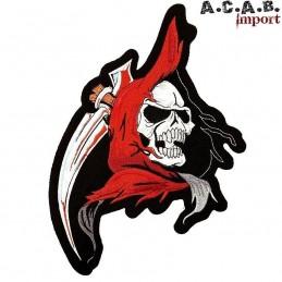 Patch brodé « faucheuse skull » biker 12 cm X 18.5 cm