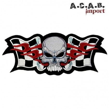 Patch brodé « damier skull flaming » biker 33 cm X 13.5 cm