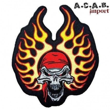 Patch brodé « bandana skull flaming » biker 15.5 cm X 12.5 cm