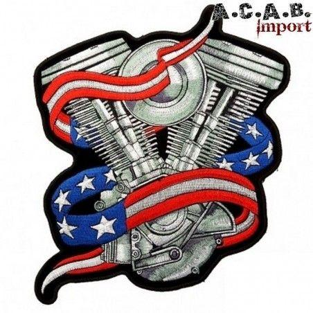 Patch brodé «vtwin us » biker 11.5 cm X 11.5 cm