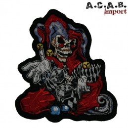 Patch brodé «joker dices » biker 17 cm X 12 cm