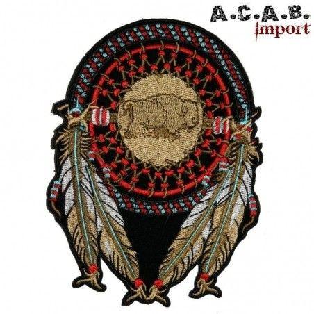 Patch brodé «attrape reve bison » biker 21.5 cm X 16 cm