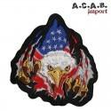 Patch brodé «aigle drapeau us » biker 15 cm X 14.5 cm