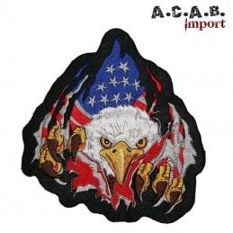 Patch brodé «aigle drapeau us » biker 31 cm X 28 cm