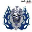Patch brodé «skull flammes bleue » biker 14 cm X 13 cm