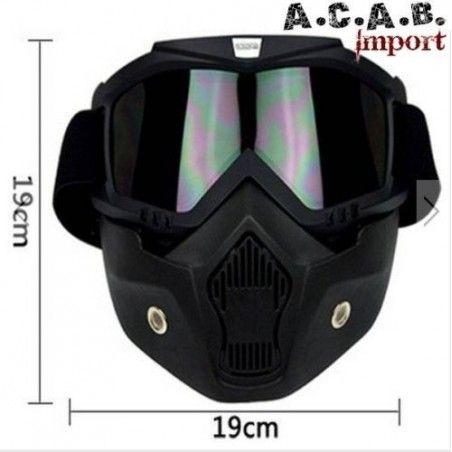 Masque type cross complet avec lunettes pour casque jet moto