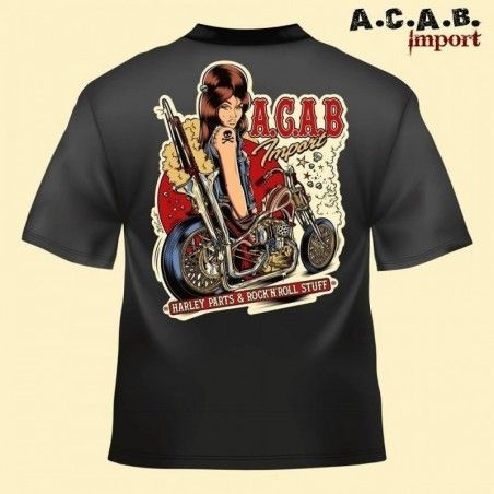 Tshirt noir A.C.A.B. Import Illustration David Vicente chop 70's