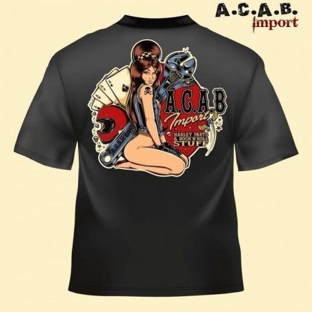 Tshirt noir A.C.A.B. Import Illustration David Vicente garage pin up