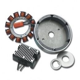 Kit système de charge 32 ampères (avec regulateur redresseur noir) pour big twin Harley Davidson.
