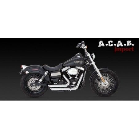 Vance & Hines Shortshots staggered chromé Dyna 12 -17 Harley Davidson