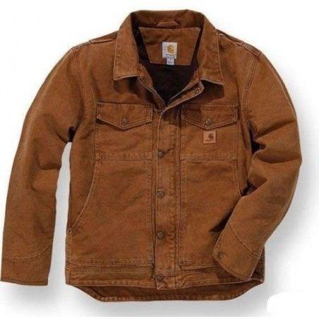Blouson CARHARTT toile sans capuche doublé polaire marron